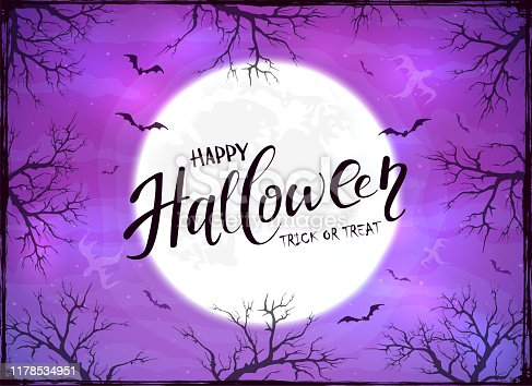 istock Happy Halloween and Ghosts on Purple Background 1178534951