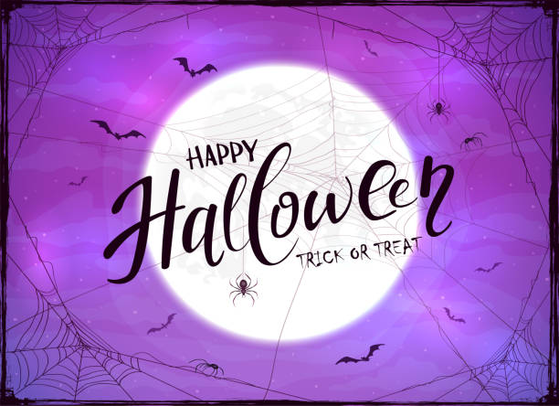 stockillustraties, clipart, cartoons en iconen met happy halloween en spider op paarse achtergrond - halloween