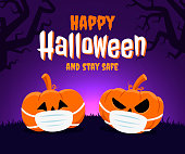 Happy Halloween and stay safe concept. Two pumpkins wearing a face mask because of coronavirus and new normal