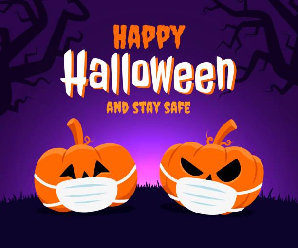 ilustraciones, imágenes clip art, dibujos animados e iconos de stock de feliz halloween y mantente seguro concepto. dos calabazas con una mascarilla facial debido al coronavirus - happy halloween
