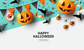 Happy Halloween holiday party Composition with Jack O' Lantern pumpkins, party decorations and sweets. Background top view vector illustration.