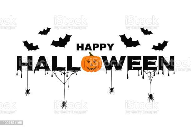 Happy halloween background text with pumpkin bats spider web and vector id1025851168?b=1&k=6&m=1025851168&s=612x612&h=3nlh1chazflzhvy9mpvsc9sjzitxaiomv ishzsur84=