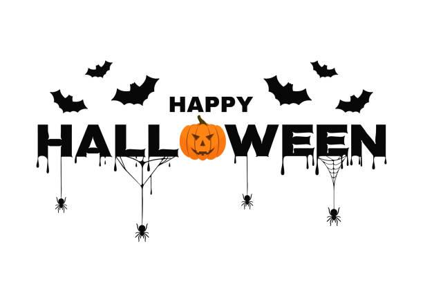 호박, 박쥐, 스파이더 웹과 혈액 해피 할로윈 배경 텍스트입니다. 할로윈 배경 포스터, 배너 - halloween stock illustrations
