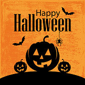 Vector of Happy Halloween and Mighty Pumpkin with grunge textured background.