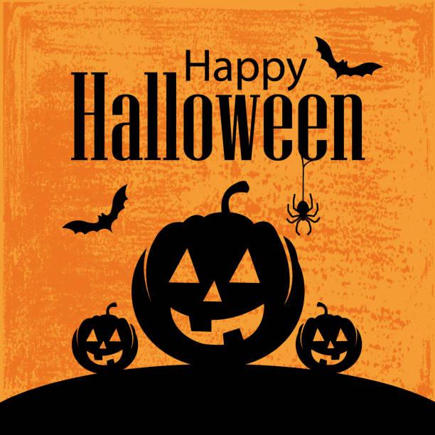 Happy Halloween background Vector of Happy Halloween and Mighty Pumpkin with grunge textured background. pumpkin stock illustrations