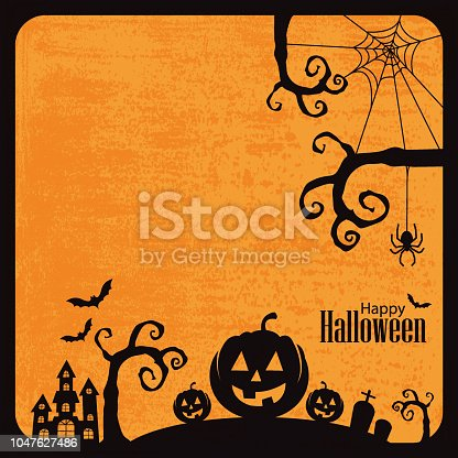 Vector of Happy Halloween with grunge textured background. EPS Ai 10 file format.