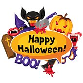Happy Halloween background with cartoon holiday symbols. Invitation to party or greeting card.
