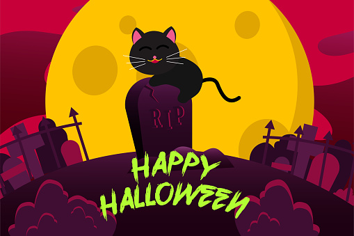 Happy Halloween Background With cute black cat on a tombstone on a full moon night. vector Illustration