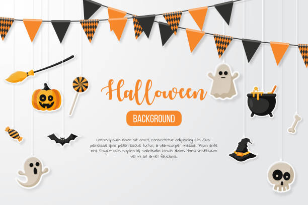 happy halloween background with flat icon. vector illustration - halloween candy stock illustrations