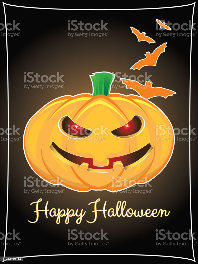 Happy halloween background with pumpkin and hand lettering vector art illustration