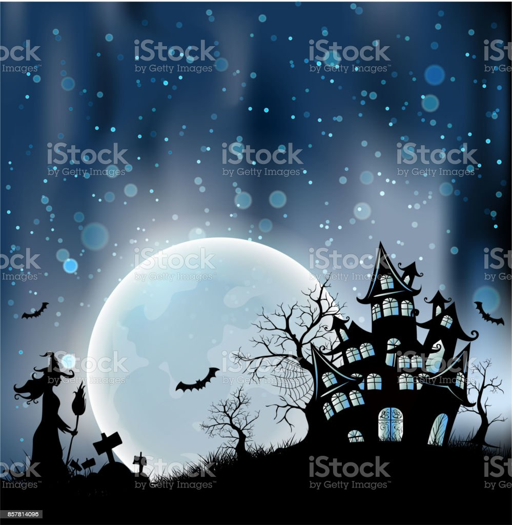 happy halloween background with pumpkin haunted house and full moon