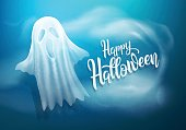Happy Halloween background with white transparent ghosts on dark blue background.vector illustration eps 10