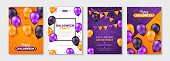 Happy Halloween posters set with colorful balloons for party invitation or menu design. Place for your text. Vector illustration. Carnival background with flags garlands and confetti