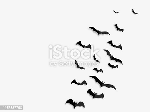 Happy Halloween banner concept. Black paper bats on white background.