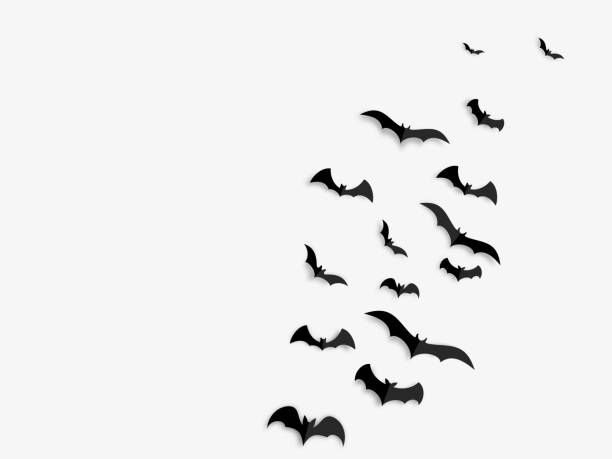 Happy Halloween banner concept. Black paper bats on white background. Vector illustration. Happy Halloween banner concept. Black paper bats on white background. bat stock illustrations