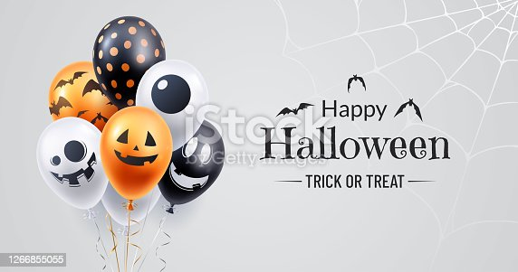 istock Happy halloween banner design. Halloween background with a bunch of helium balloons and spooky spiderweb in the corner. Use for party invite, greeting card, sales announcement. Vector illustration. 1266855055