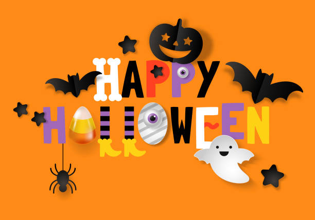 happy halloween banner design - halloween candy stock illustrations