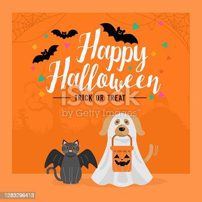 istock Happy Halloween banner, Dog and Cat in Halloween costume 1283296413