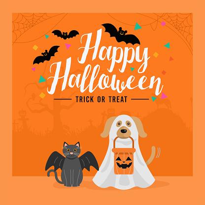 Happy Halloween banner, Dog and Cat in Halloween costume