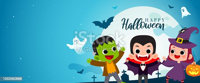 istock Happy Halloween banner vector illustration. Frankenstein, Count Dracula and Witch Cartoon style. Kids in Halloween costume party. 1053560888