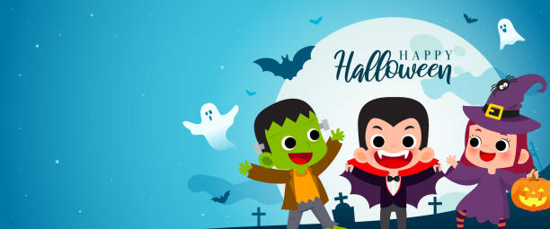 stockillustraties, clipart, cartoons en iconen met happy halloween banner vectorillustratie. frankenstein, graaf dracula en heks cartoon stijl. kinderen in halloween kostuum partij. - kostuum