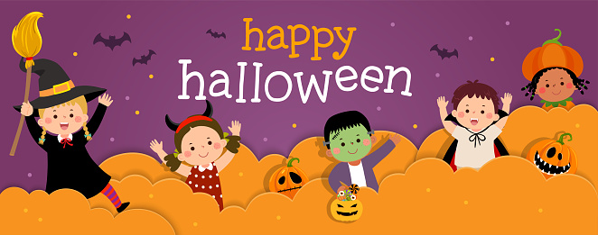 Happy Halloween banner with happy kids in Halloween costumes in paper cut style.