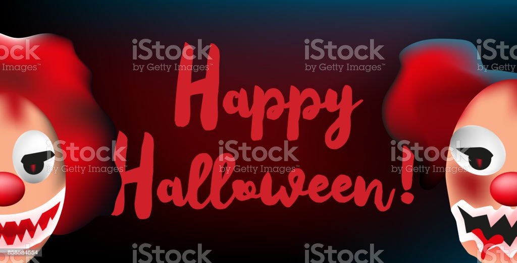 happy halloween banner with two scary clown faces royaltyfree stock vector art