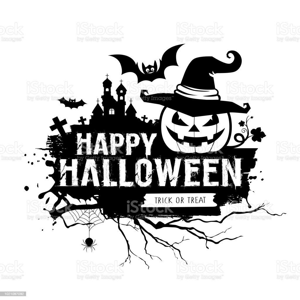 Kleurplaten Halloween Pompoen Vleermuis.Happy Halloween Zwartwit Bericht Pompoen Hoed Vleermuis Kasteel