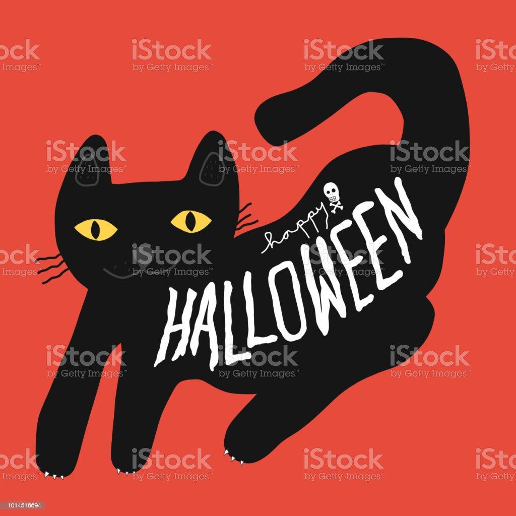 Vector de dibujos animados de gato negro de Halloween feliz doodle ilustración - ilustración de arte vectorial