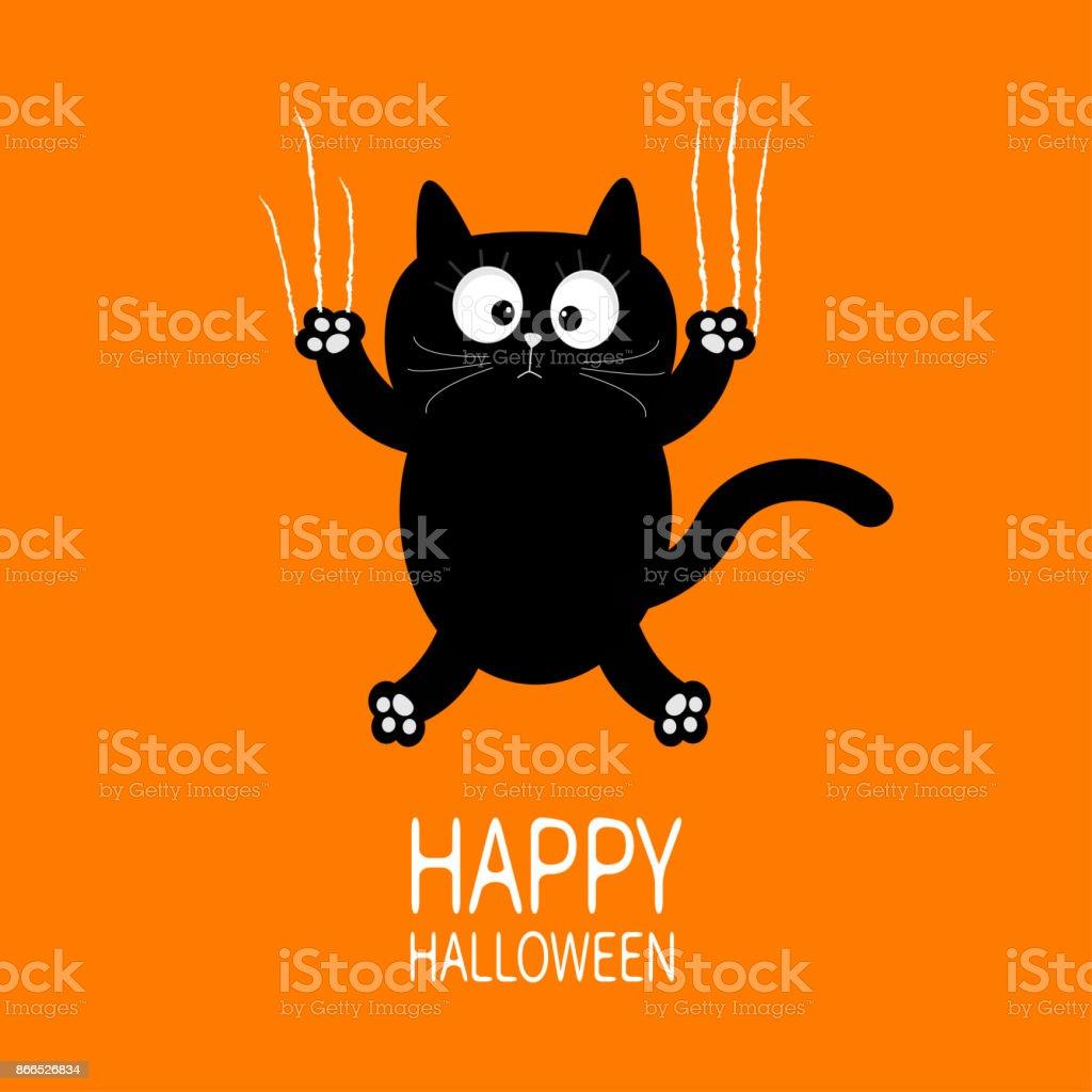Happy Halloween Black Cat Claw Scratch Glass Cute Cartoon Funny