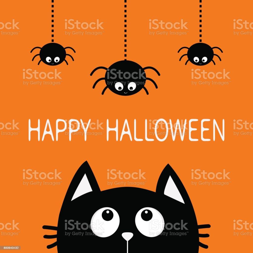 Joyeux Halloween Tête Silhouette De Chat Noir Visage