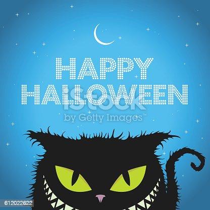 istock Happy Halloween Black Cat with evil smile 612022622