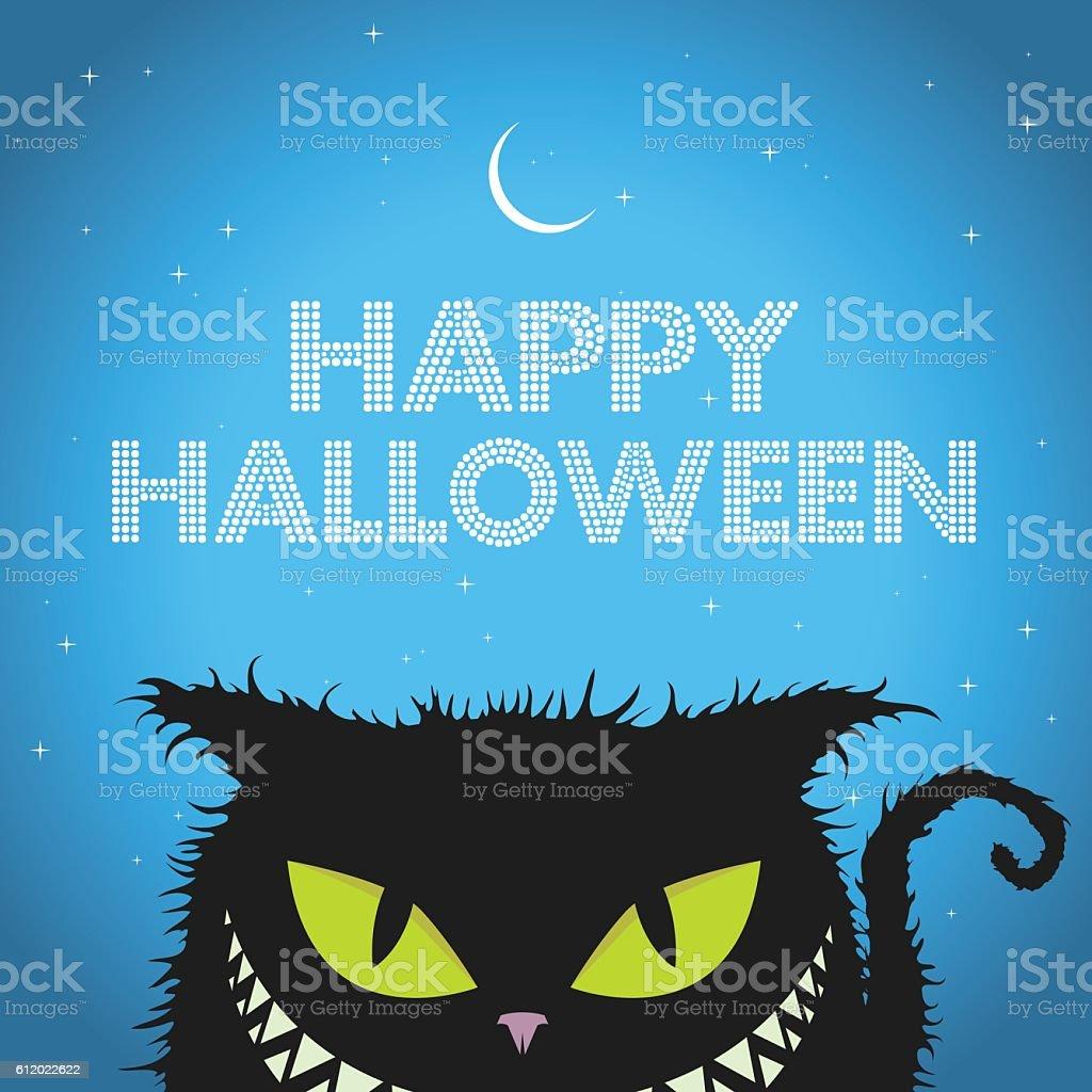 Happy Halloween Black Cat with evil smile vector art illustration