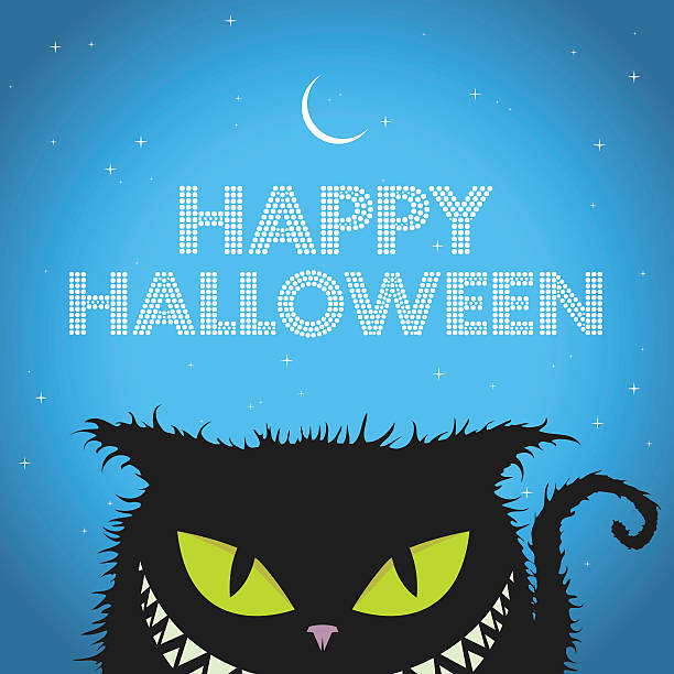 Happy Halloween Black Cat with evil smile Happy Halloween Black cat with evil smile halloween cat stock illustrations