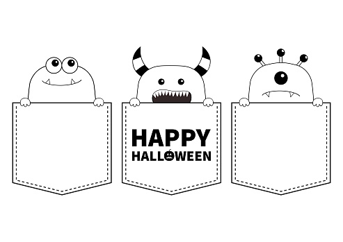 Happy Halloween Black Line Contour Monster Silhouette Set In The Pocket Holding Hands Cute Cartoon Scary