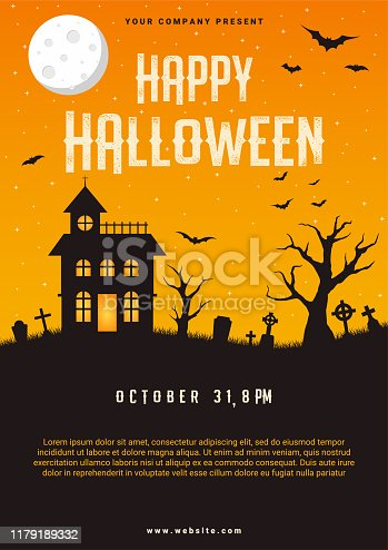 Happy halloween business flyer design template, vector illustration
