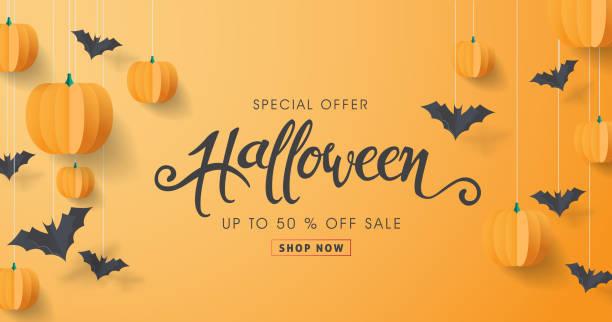 illustrazioni stock, clip art, cartoni animati e icone di tendenza di buona calligrafia di halloween con pipistrelli di carta e zucche. striscioni invito partito. illustrazione vettoriale. - halloween