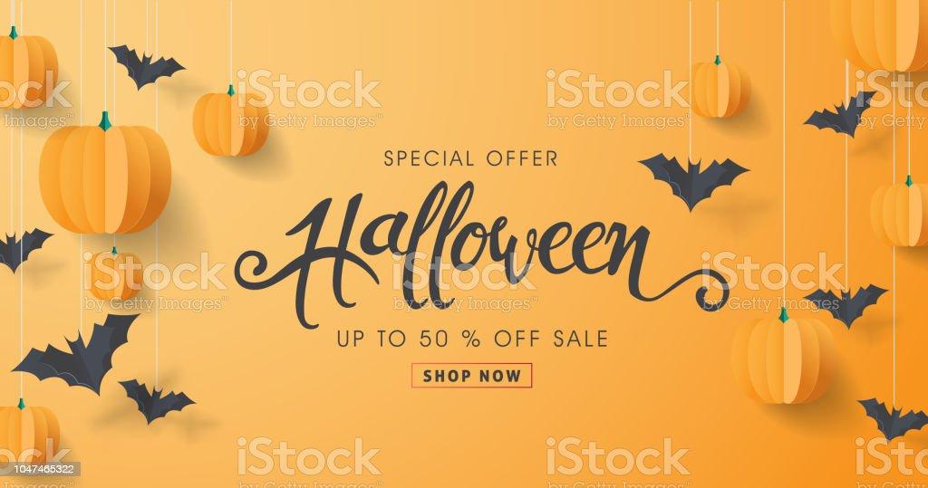 Caligrafía de Happy Halloween calabazas y murciélagos de papel. banners del partido invitación. Ilustración de vector. - ilustración de arte vectorial