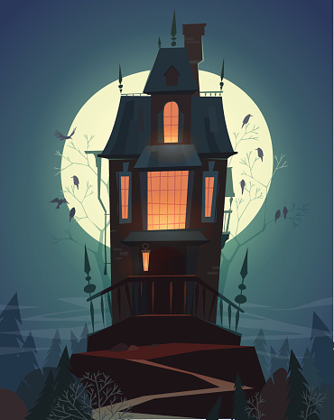 Night landscape with an old spooky house in moon light.