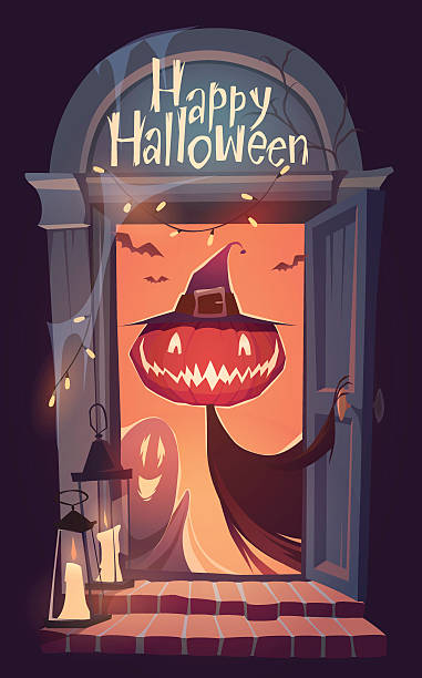 happy halloween-karte hintergrund, poster. vektor-illustration. - türposter stock-grafiken, -clipart, -cartoons und -symbole
