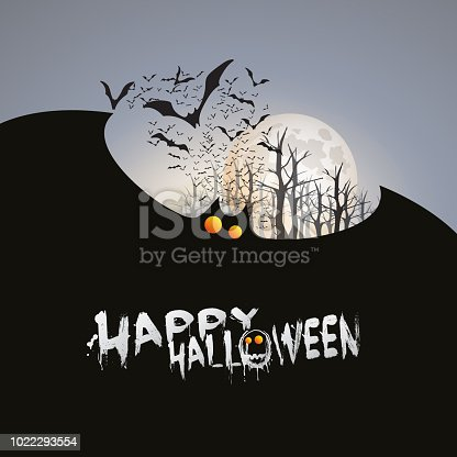 Grey Happy Halloween Design with Bats Flying Under Full Moon - Illustration in Editable Vector Format