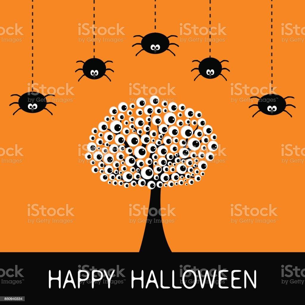 happy halloween card black tree silhouette with eyes plant branch rh istockphoto com Scary Eyes Clip Art Creepy Eyes Clip Art