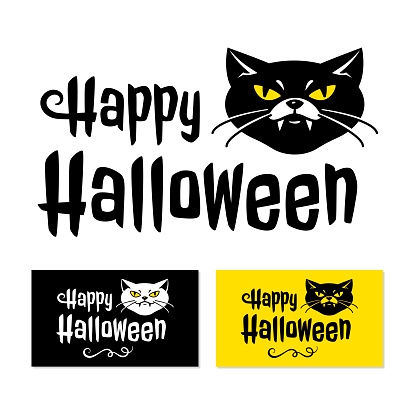 Happy Halloween card, Cat with vampire fangs and inscription Happy Halloween. Vector illustration