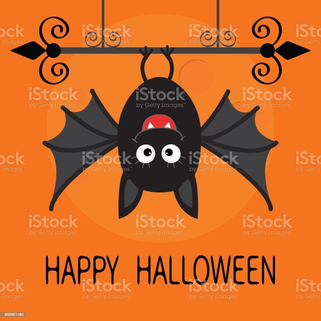 Feliz Tarjeta De Halloween Murciélago Colgante De Linda De La ...