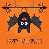 Happy Halloween card. Cute cartoon hanging bat. Animal character. Baby illustration collection. Wrought iron. Big moon. Flat design. Orange background.