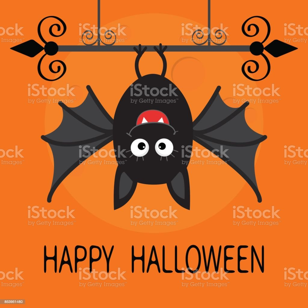 Happy Halloween card. Cute cartoon hanging bat. Animal character. Baby illustration collection. Wrought iron. Big moon. Flat design. Orange background. vector art illustration