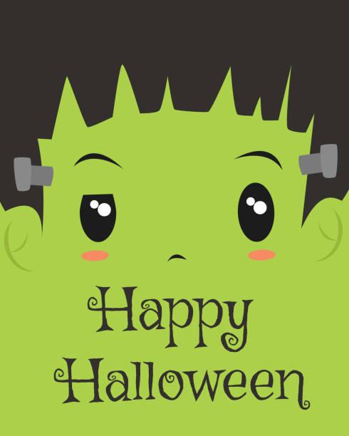 happy halloween karte design, frankenstein cartoon vector - frankenstein stock-grafiken, -clipart, -cartoons und -symbole