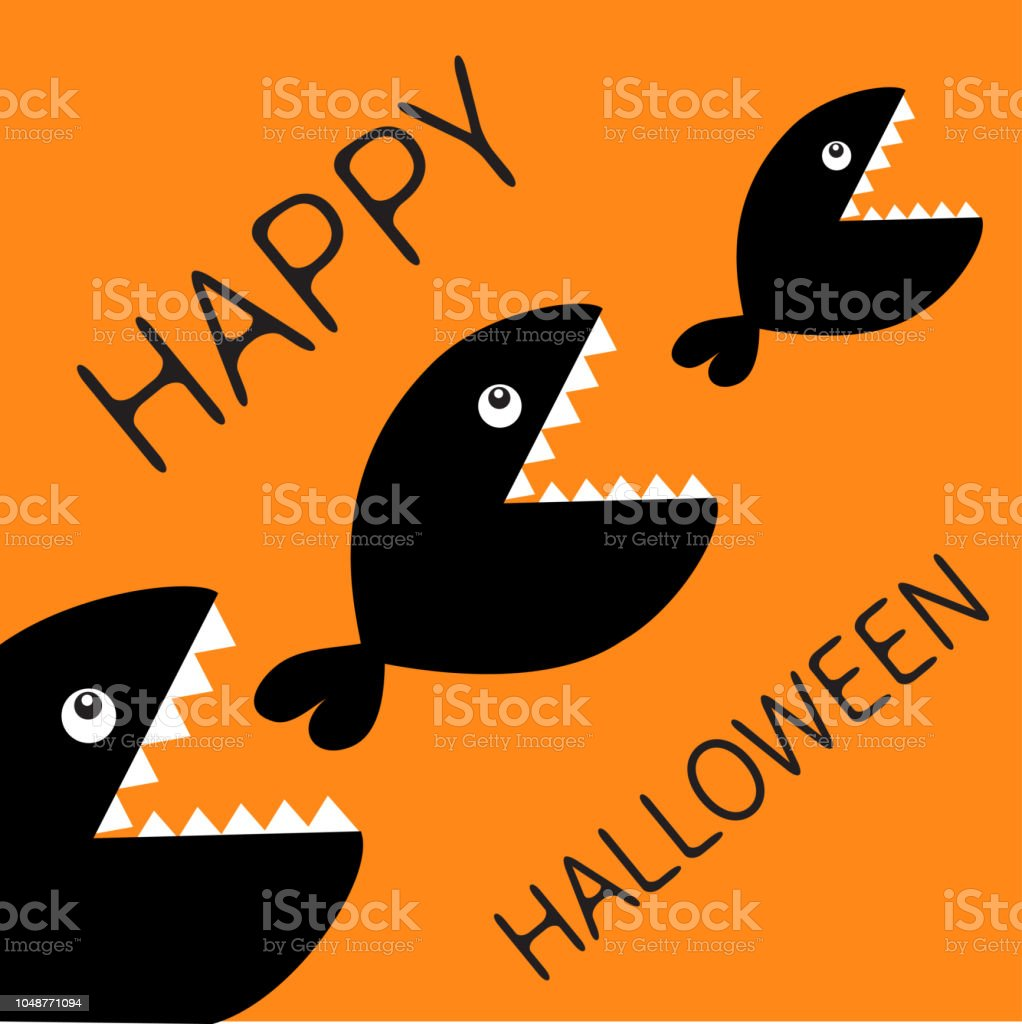 Happy Halloween Card Fish Monster Eating Each Other Three Fishes