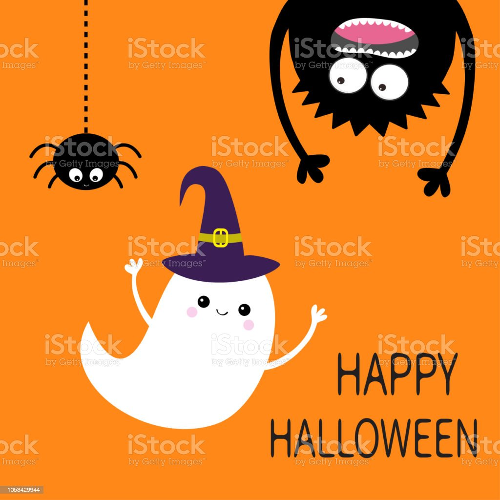 Happy Halloween Card Flying Ghost Spirit Witch Hat Monster Head Silhouette Eyes Hands Hanging Upside Down Black Spider Funny Cute Cartoon Baby Character Flat Design Orange Background Stock Illustration Download Image