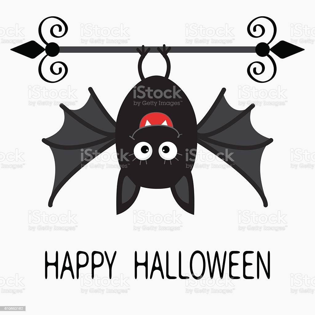 happy halloween card hanging bat stock vector art 610653162 istock